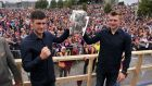 Galway senior  captain David Burke with Joe Canning as they hold aloft the Liam MacCarthy cup to supporters in Ballinasloe. Photograph: Ray Ryan
