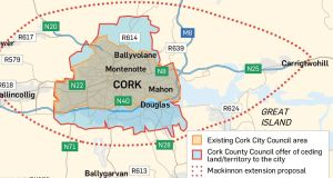 A graphic showing the different options and proposals for a land transfer to Cork City Council. Graphic: Irish Times Studio