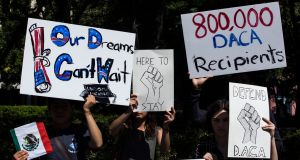 Demonstrators protest in support of the Deferred Action for Childhood Arrivals programme  in Jersey City, New Jersey, on  August 30th. Photograph:  Kirsten Luce/New York Times
