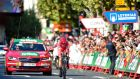 Sky's British rider Chris Froome sprints to win the 16th stage of the La Vuelta Tour of Spain, a 40.2 km individual time trial from Circuito de Navarra in Los Arcos to Logrono. Photograph: Getty Images