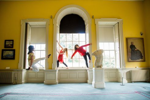 LIMERICK LADIES: Dancers Zoe Griffin, Fiona Marie Booth and Mariela Arguello Retana at the Hunt Museum launching the Elemental, Limerick Arts Festival.Photograph: Alan Place