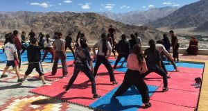 Buddhist nuns in India's remote Himalayan region of Ladakh teach girls and young women the martial art of Kung Fu amid rising reports of rape in India. Photograph: Nita Bhalla/Thomson Reuters Foundation