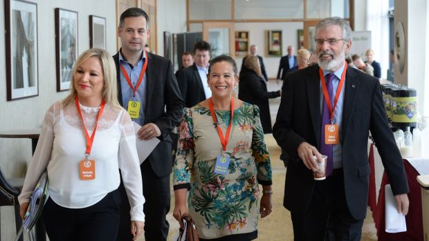Adams with Mary Lou McDonald, Pearse Doherty and Michelle O'Neill. Photograph: Dara Mac Dónaill