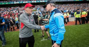 Tyrone manager Mickey Harte with Dublin manager Jim Gavin after the recent All-Ireland semi-final. Photograph: Ryan Byrne/Inpho