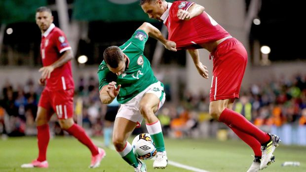 Ireland's Wes Hoolahan in action against Nemanja Matic of Serbia during the World Cup qualifier at the Aviva Stadium. Photograph: James Crombie/Inpho