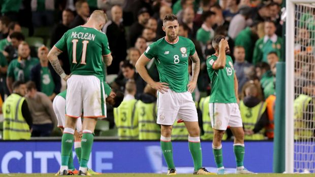 Ireland's James McClean, Daryl Murphy and Jon Walters after the final whistle of their 1-0 defeat to Serbia at the Aviva Stadium. Photograph: Morgan Treacy/Inpho