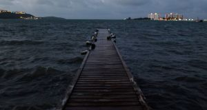Sea water rises to a water deck as hurricane Irma approaches Puerto Rico in Fajardo on September 5th. Photograph:  Ricardo Ardunego/AFP/Getty Images