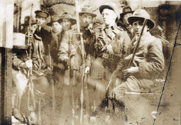 Irish Volunteers and Irish Citizen Army members inside the GPO in 1916. Photograph: Defence Forces Military Archives