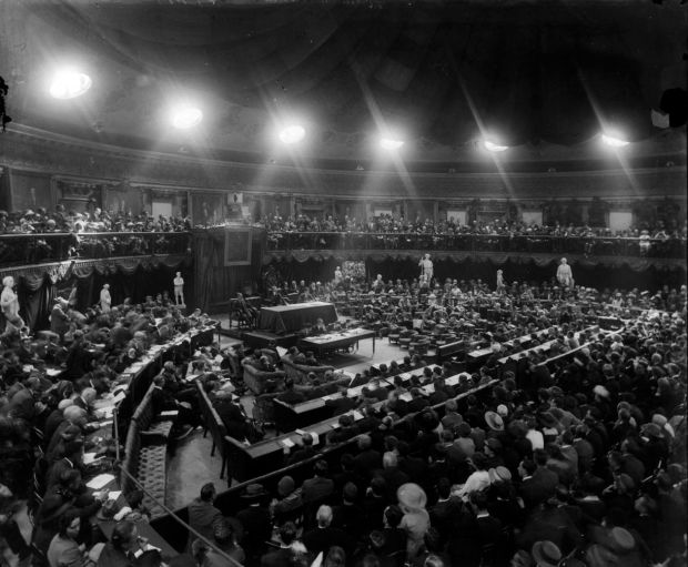 The Dáil Éireann in session in August 1921, shortly after the truce that brought the War of Independence to an end. Photograph: National Library of Ireland