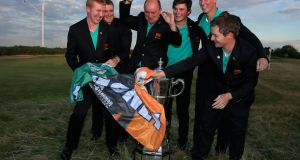 Nigel Edwards the victorious 2015 Britain and Ireland team captain poses with the Irish players - Paul Dunne, Cormac Sharvin, Gary Hurley, Gavin Moynihan and Jack Hume - at Royal Lytham & St Annes. Photograph: Getty Images