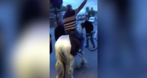 The footage was captured on a mobile phone and shows a man riding the pony through the Cabra House pub
