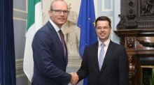 Minister for Foreign Affairs  Simon Coveney with  Northern  Secretary James Brokenshire at Iveagh House in Dublin. Photograph: Niall Carson/PA Wire