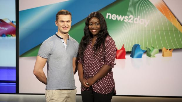 Co Clare woman Zainab Boladale with her co-host on RTÉ's News2Day Tommy Meskill