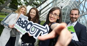 Emer Duffy of Sage; Skillnets' Tracey Donnery; Women ReBOOT participant Laura Murphy and Paul Sweetnam, Ibec, launching the new programme
