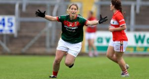 Mayo's Cora Staunton celebrates the victory over Cork in the All-Ireland semi-final at  Kingspan Breffni Park. Photograph: Donall Farmer/Inpho