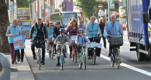 Members of the Dublin Cycling Campaign at a photocall in advance of the a large family friendly demonstration in support of the Liffey Cycle Route on Sunda. Photograph: Alan Betson