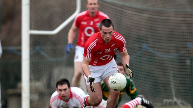 Ian Jones playing for the Cork senior footballers in the McGrath Cup semi-final against Kerry in January, 2011. Photograph: Cathal Noonan/Inpho