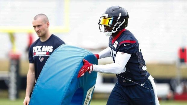 Ian Jones and safety Eddie Pleasant at the Houston Texans training camp in West Virginia during August.