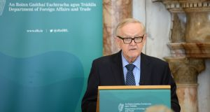 Martti Ahtisaari delivering the Iveagh House lecture at the Department of Foreign Affairs in   Dublin. Photograph: Dara Mac Dónaill