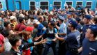 Hungarian hostility: migrants face police at Budapest's main railway station in 2015. Photograph: Laszlo Balogh/Reuters