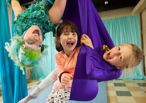 SKYLARKIN': Sianna Bruce from Fidget Feet and Siomha Langan and Rachel Feeney at the programme launch for the 21st Baboró International Arts Festival for Children. Photograph: Andrew Downes, xposure