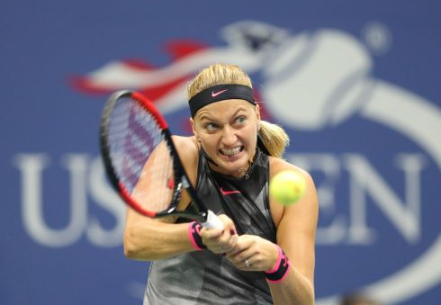 FIGHTING BACK: Petra Kvitova hits a return during her final-set tiebreak defeat to Venus Williams in their US Open quarter-final meeting. Kvitova is slowly finding her best form after being stabbed last December. Photograph: Jerry Lai