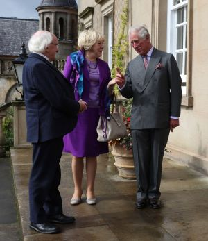 RENEWING ACQUAINTANCES: Prince Charles welcomes President Michael D Higgins and his wife Sabina to Dumfries House in East Ayrshire. Photograph: Andrew Milligan/PA Wire