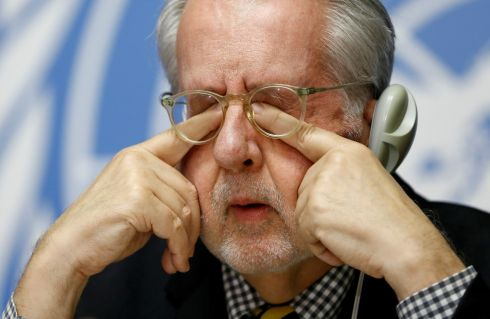 UNDER PRESSURE: Paulo Pinheiro, Chairperson of the Commission of Inquiry on Syria, at a news conference at the United Nations office in Geneva, Switzerland. Photograph: Denis Balibouse/Reuters