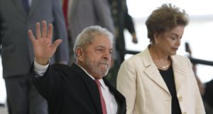 Corruption charges: Brazil's former presidents Luiz Inácio Lula da Silva and Dilma Rousseff are both accused of bribery. Photograph: Igo Estrela/Getty