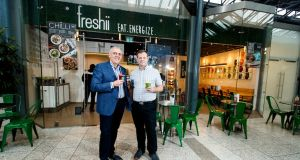 Freshii Ireland franchise holders Dave O'Donoghue and Cormac Manning outside one of the company's stores in Dublin. Photograph: Andres Poveda