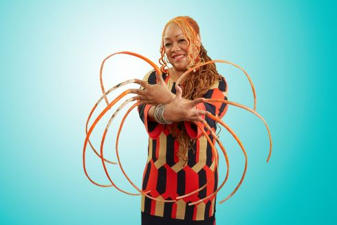 Ayanna Williams, who has the record for the longest fingernails. Photograph: Kevin Scott Ramos/GWR/PA Wire