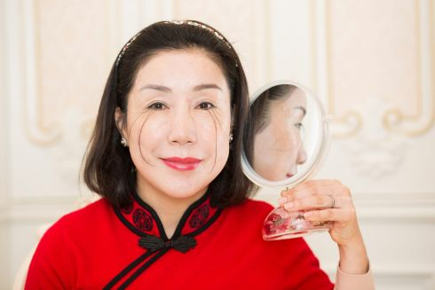 You Jianxia, who has the record for the longest eyelash. Photograph: Jonathan Browning/GWR/PA Wire