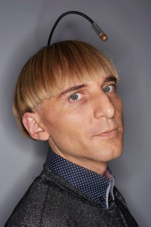 Neil Harbisson, who has the first implanted antenna. Photograph: James Ellerker/GWR/PA Wire