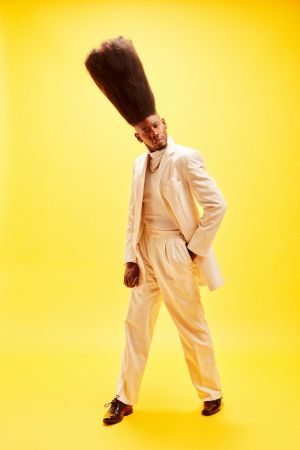 Benny Harlem who has the record for the tallest hi-top fade haircut. Photograph: Ryan Schude/GWR/PA Wire