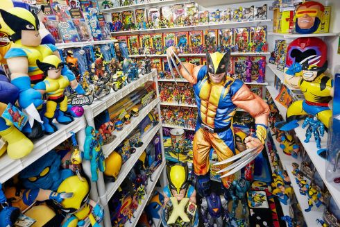 Eric Jaskolka with the largest collection of X-Men memorabilia. Photograph: Kevin Scott Ramos/GWR/PA Wire