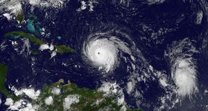 Hurricane Irma: the storm over the Caribbean on Wednesday. Photograph: Nasa/New York Times