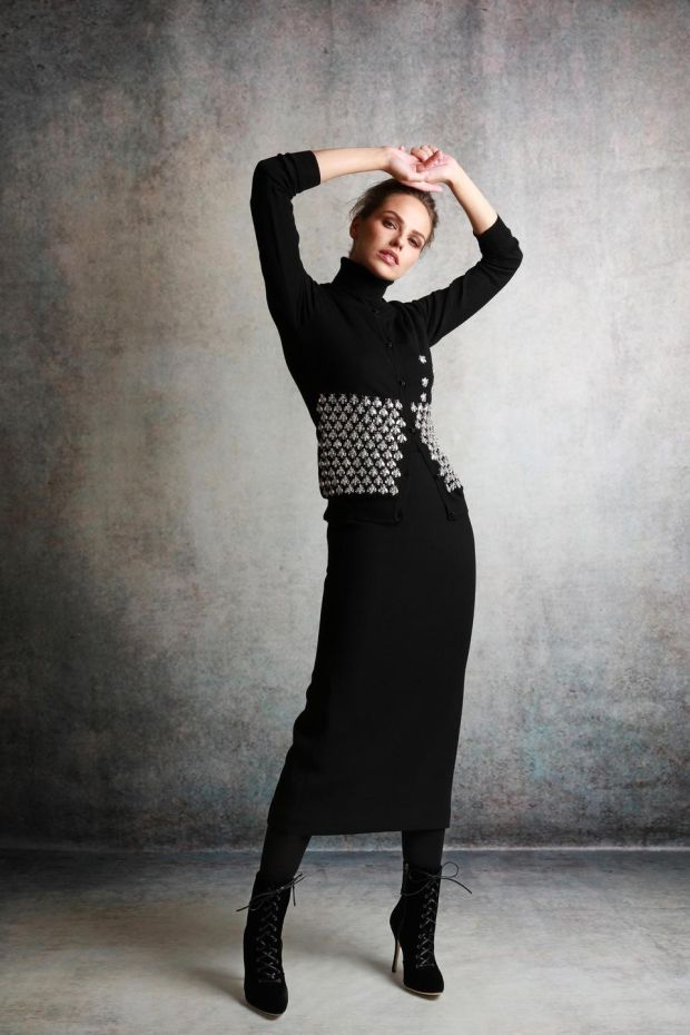Fifi - bee embellished knit €1,295 and Eva skirt €450