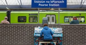 Public Piano at Pearse Station as Iarnród Éireann encourages commuters to play a tune. Photograph: Paul Sharp/Sharppix