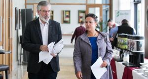 Gerry Adams and Mary Lou McDonald at Sinn Féin's annual 'think-in' this week. Photograph: Gareth Chaney/Collins