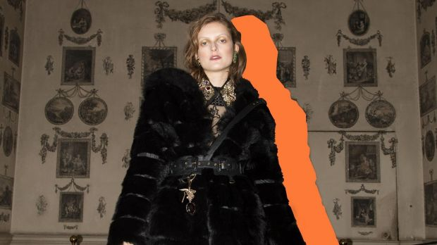 Reversible nylon and shearling coat €2,200, morning party lace and tulle dress €350, leather chain and crystal embellished collar €150, black leather Constance Markiecivz harness €350