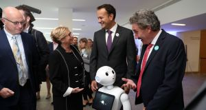 Taoiseach, Leo Varadkar (centre right) with the Tánaiste and Minister for Business, Enterprise and Innovation, Frances Fitzgerald  and  Minister for Research  John Halligan (right).