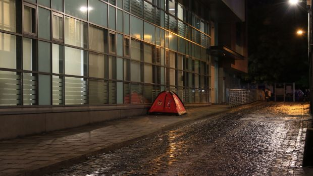 A tent on Glover's Alley, off St Stephen's Green in Dublin. Photograph: Nick Bradshaw