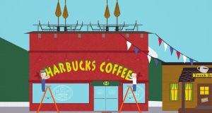 The  South Park episode, Gnomes, was pure genius. Mr Tweek, the owner of a local, independent coffee shop, fears for his business when Harbucks, a big bad corporation, comes to town with a new outlet right next door to his own.