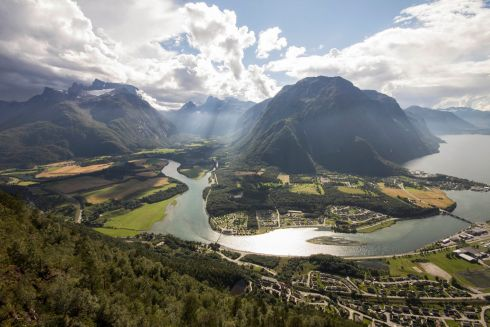 The view of Andalsnes from the Rampestreken viewing platform, Norway.