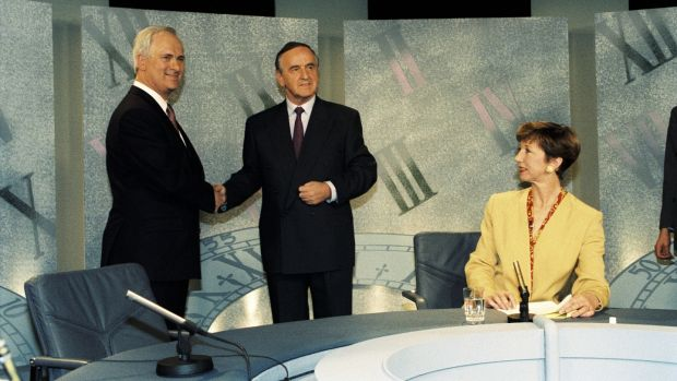 John Bruton and Albert Reynolds with Olivia O'Leary, who presented Prime Time between 1992 and 1994