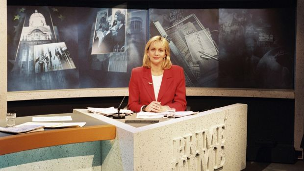 Miriam O'Callaghan in the Prime Time studio in 1997