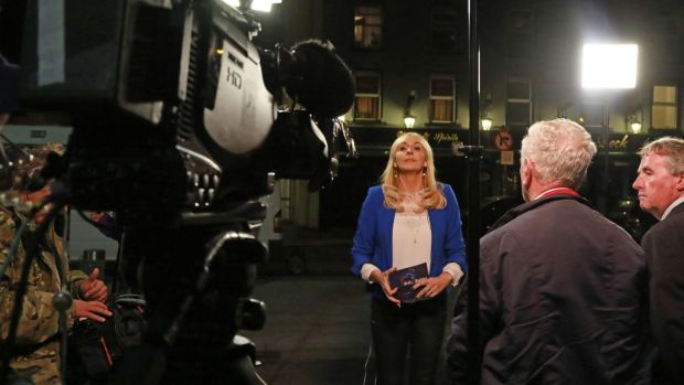 Presenter Miriam O'Callaghan during an outside broadcast in Portobello, Dublin, for the RTÉ current affairs show Prime Time. Photograph: Nick Bradshaw