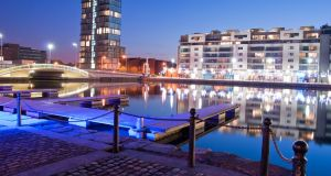 Dublin's Grand Canal Docks by night: The surrounding area is home to several tech giants with large and often well-paid workforces. Photograph: iStock.