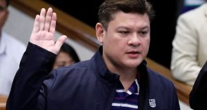 Davao's vice mayor Paolo Duterte and son of President Rodrigo Duterte takes an oath as he testifies at a Senate hearing on drug smuggling in Pasay, Metro Manila, Philippines. Photograph: Erik De Castro/Reuters