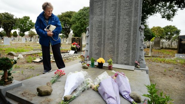 Noleen Belton, who was born at the Bethany Home in 1938 and spent 16 months there before being adopted, attending an annual remembrance at Mount Jerome cemetery for children who lost their lives at the home. Photograph: Alan Betson/The Irish Times
